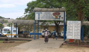 """Those coming to Albert's Mission Hospital are greeted by a sign in Shona with the biblical verse Matt. 11:28: """"Come to me, all you who are weary and carrying a heavy burden, and I will give you rest."""""""