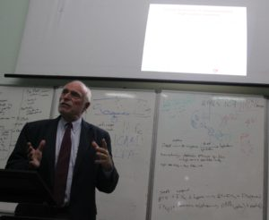 Dr. Lowell Schnipper presenting a seminar to faculty and students at the University of Zimbabwe, 2015.